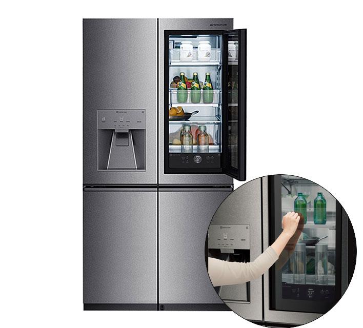 frigorífico con puerta de cristal