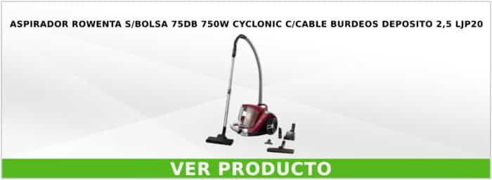 Aspirador Rowenta s/bolsa 75DB 750W Cyclonic c/cable burdeos depósito 2,5L JP20
