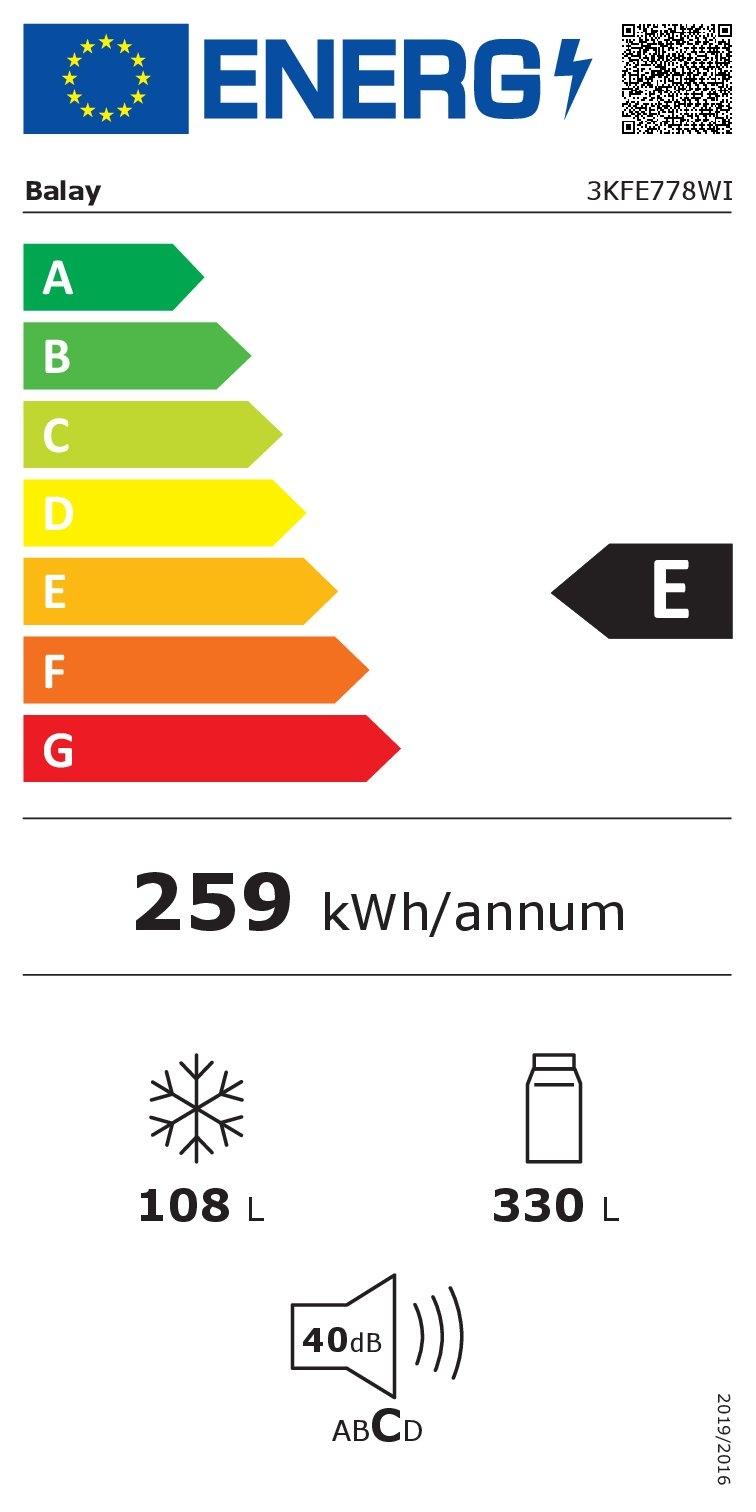 Etiqueta energética BALAY 3KFE778WI 203