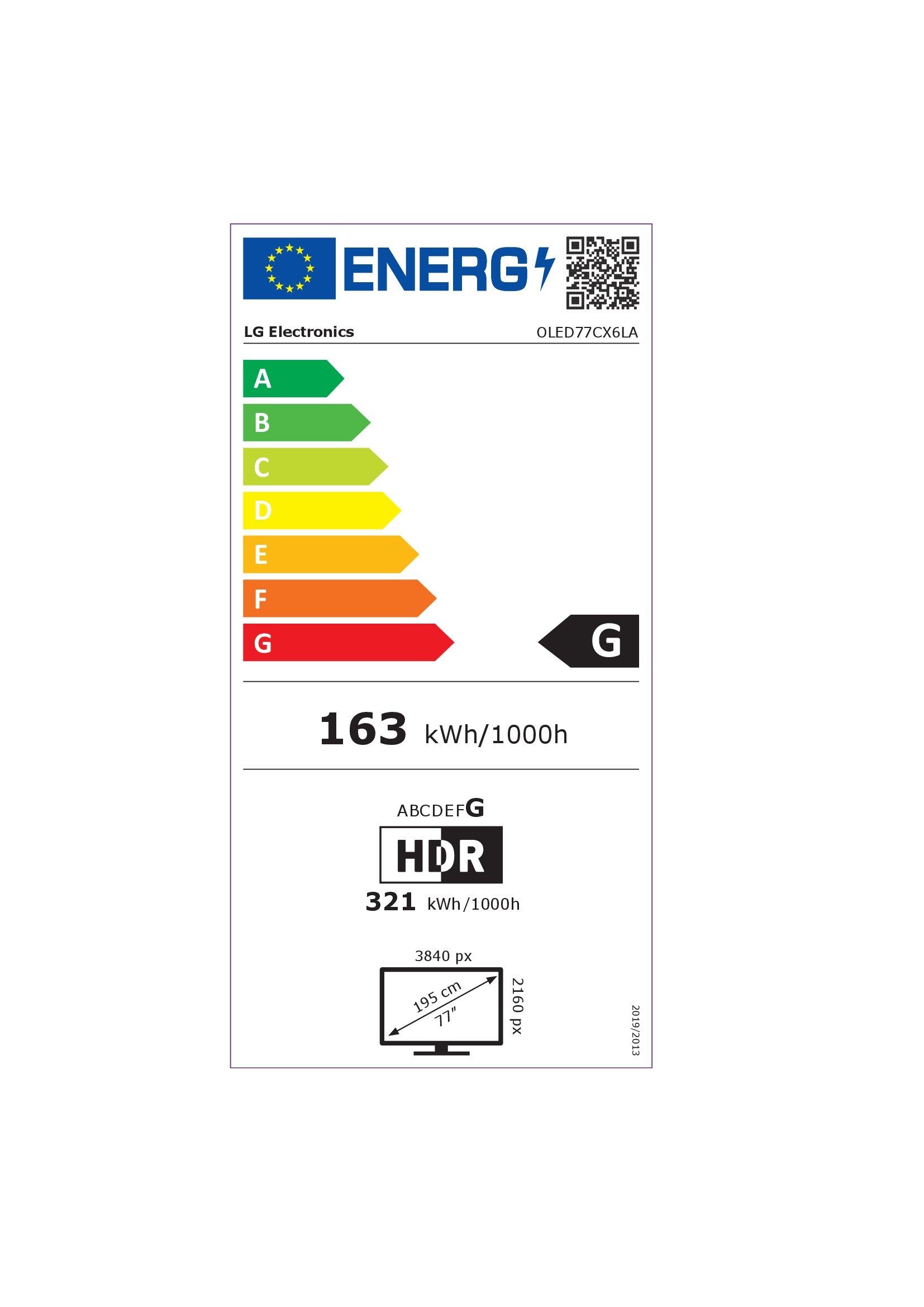 Etiqueta energética LG OLED77CX6LA 77