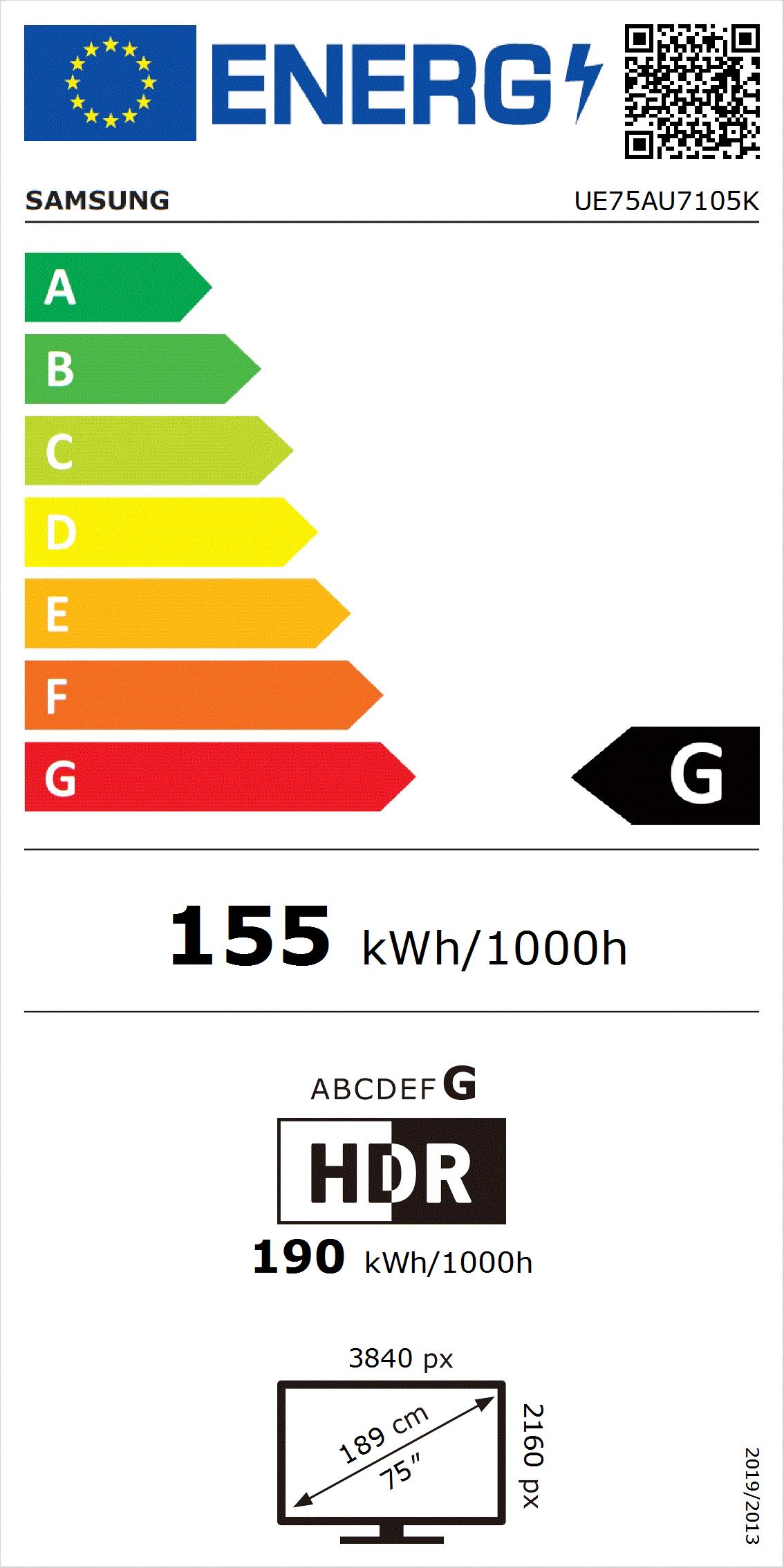 Etiqueta energética SAMSUNG UE75AU7105KX 75